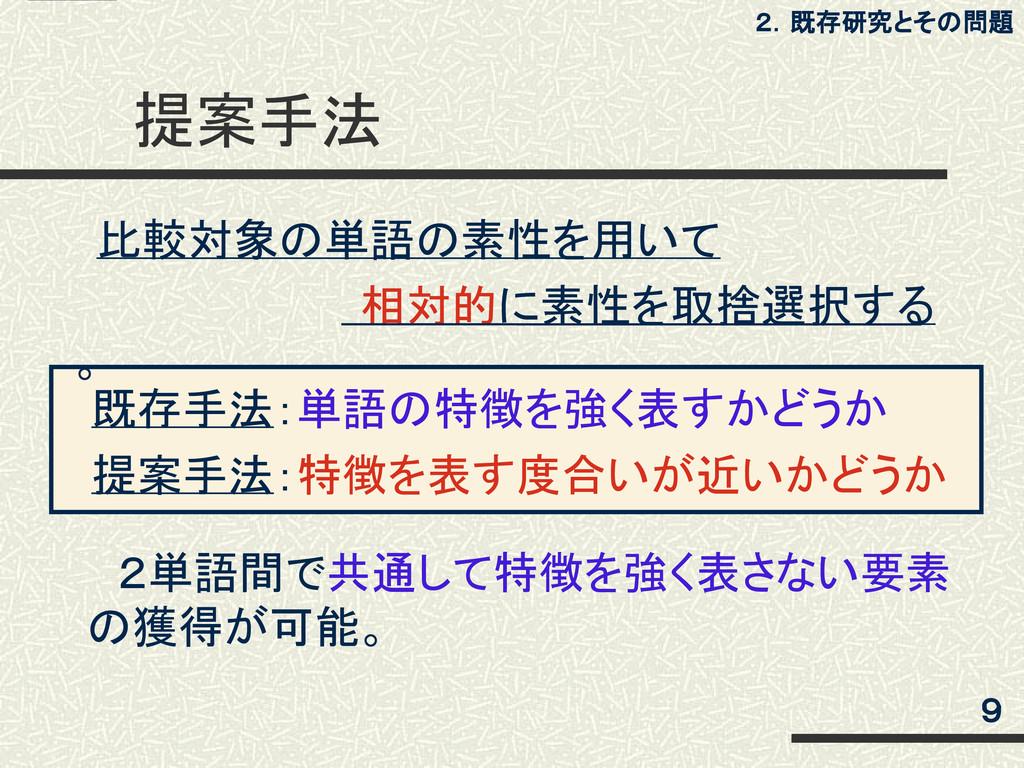 既存手法:単語の特徴を強く表すかどうか  提案手法:特徴を表す度合いが近いかどうか 提案手法...