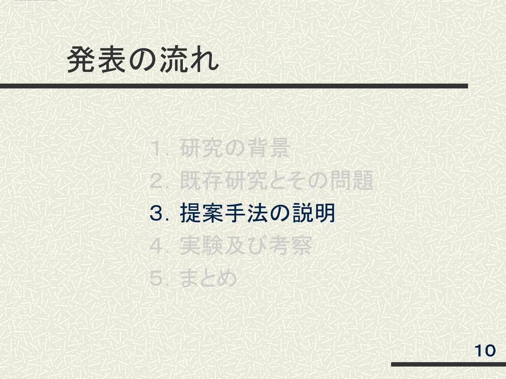 発表の流れ 1.研究の背景 2.既存研究とその問題 3.提案手法の説明 4.実験及び考察 5....