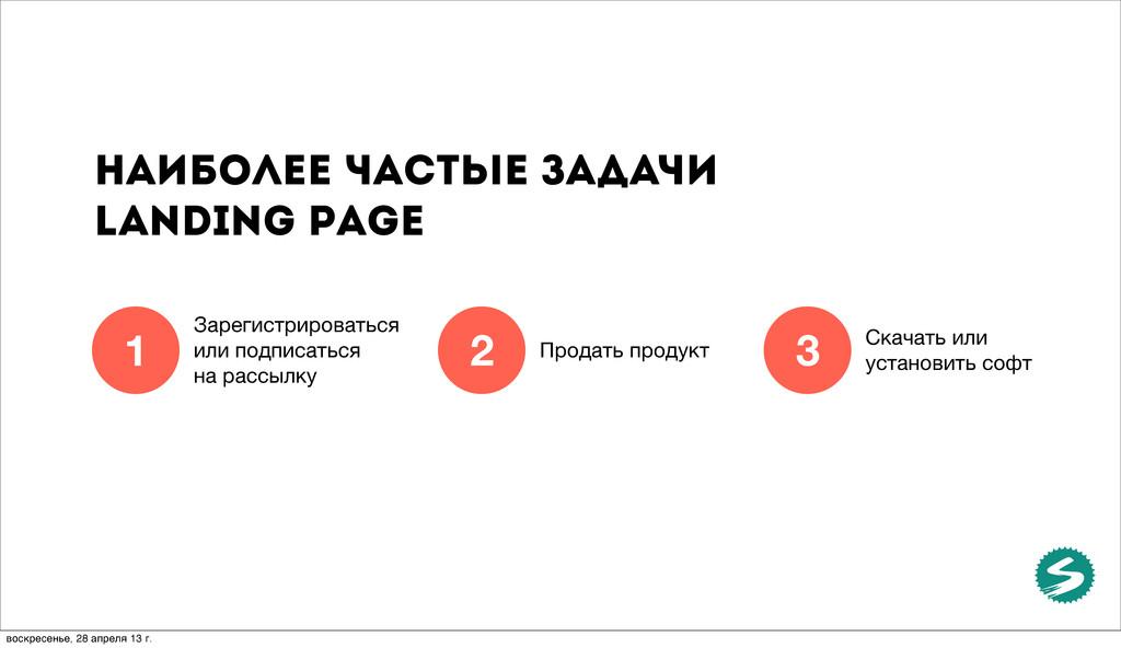 Наиболее частые задачи landing page Зарегистрир...
