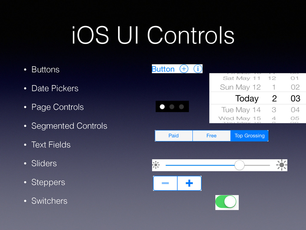 iOS UI Controls • Buttons • Date Pickers • Page...