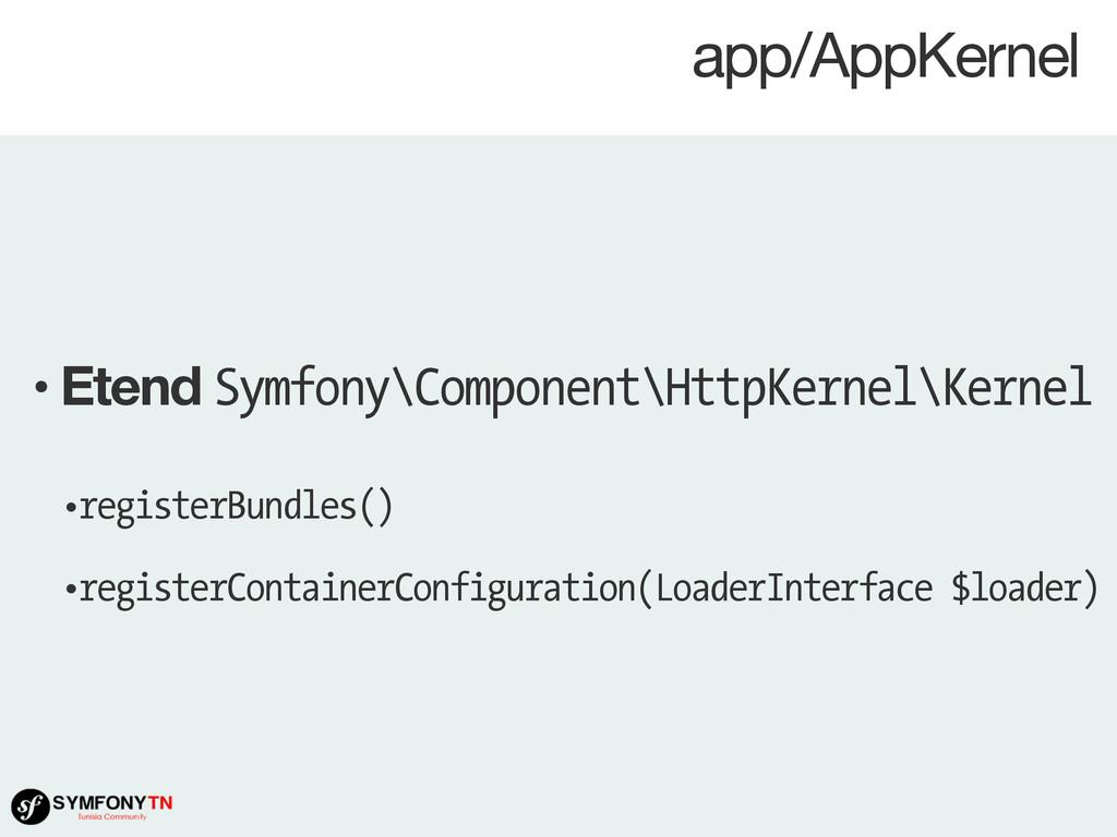 app/AppKernel • Etend Symfony\Component\HttpKer...