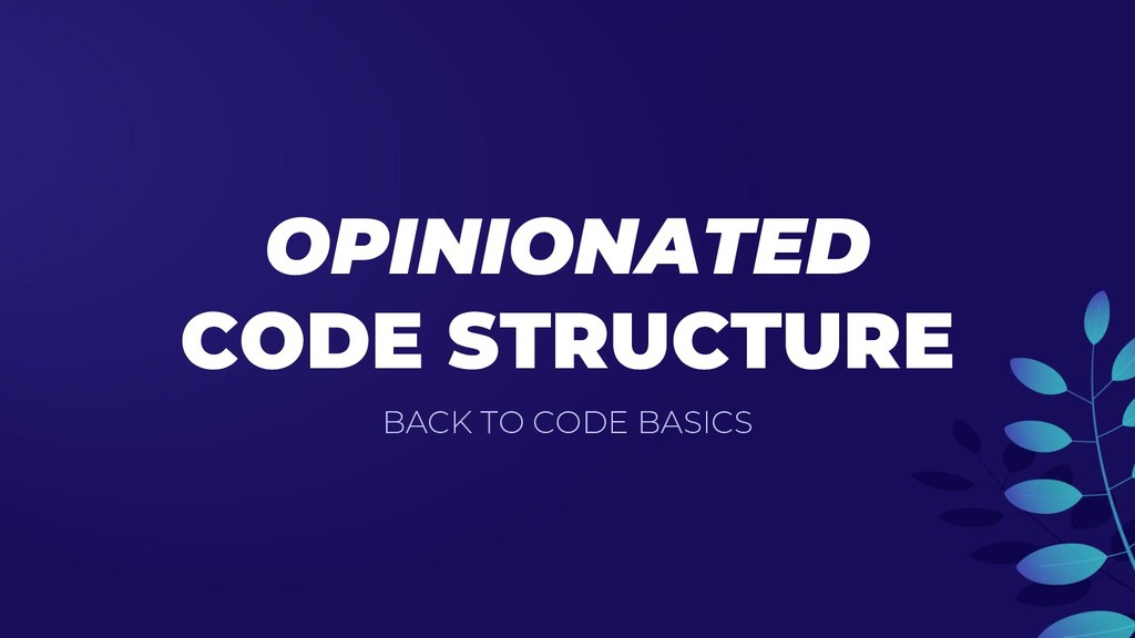 OPINIONATED CODE STRUCTURE BACK TO CODE BASICS