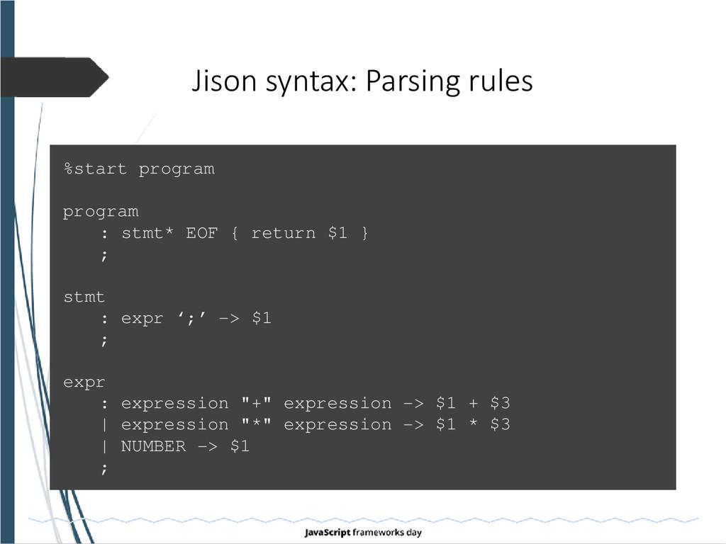 Jison syntax: Parsing rules %start program prog...