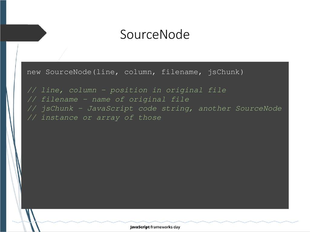 new SourceNode(line, column, filename, jsChunk)...