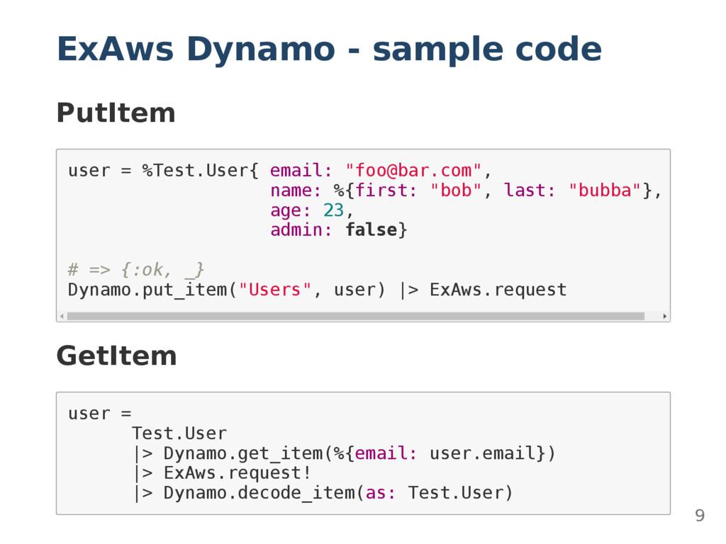 ExAws Dynamo - sample code PutItem u s e r = % ...