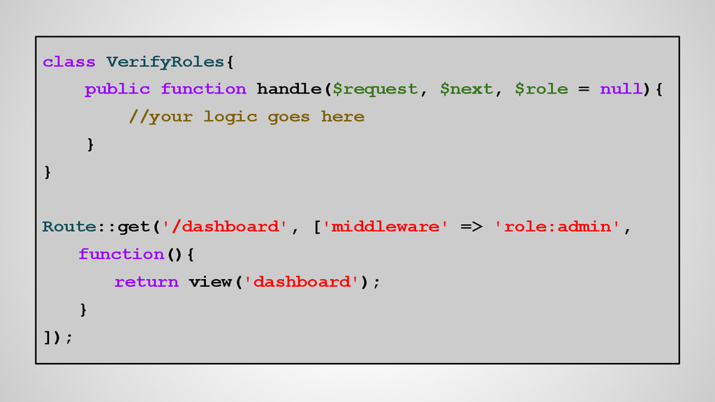 class VerifyRoles{ public function handle($requ...