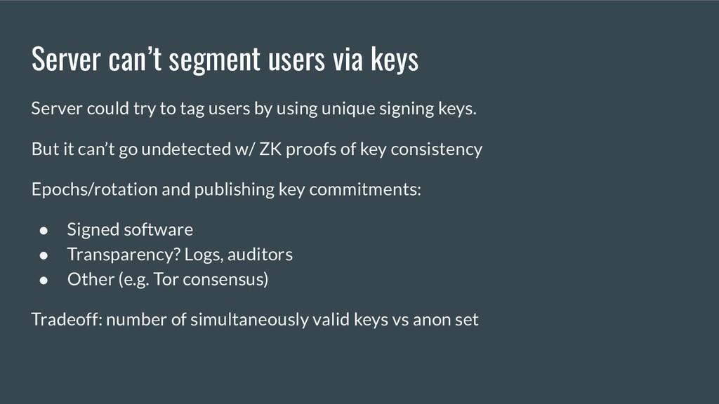 Server can't segment users via keys Server coul...