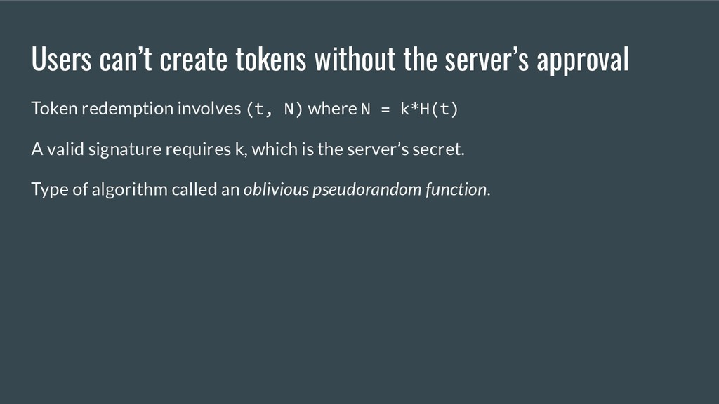 Users can't create tokens without the server's ...