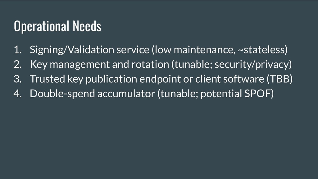 Operational Needs 1. Signing/Validation service...