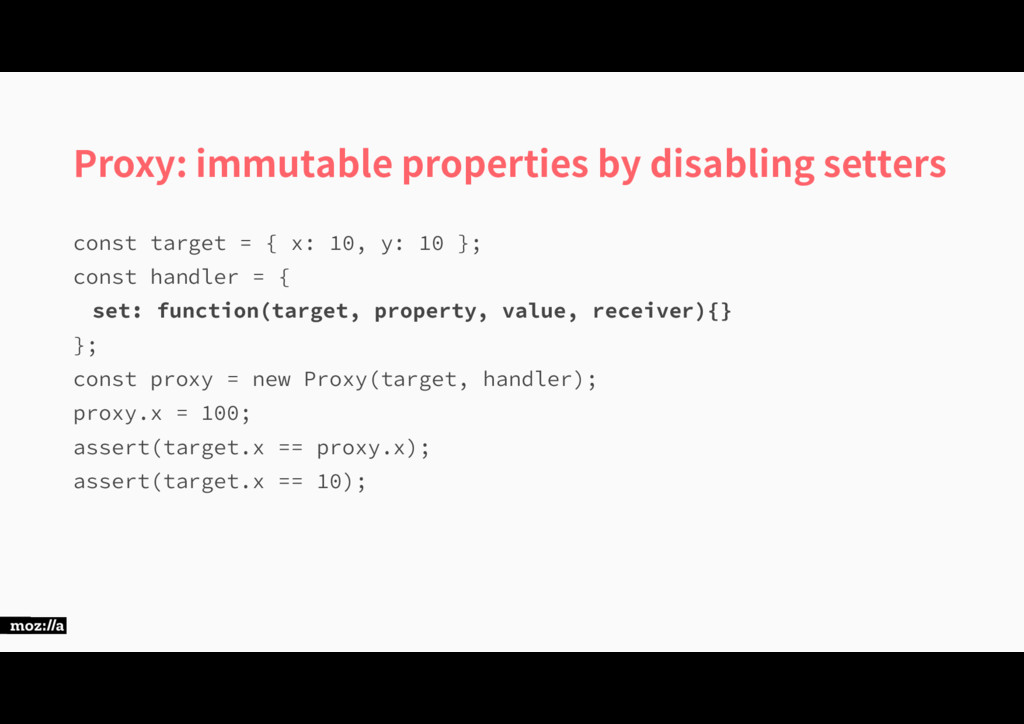 Proxy: immutable properties by disabling setter...