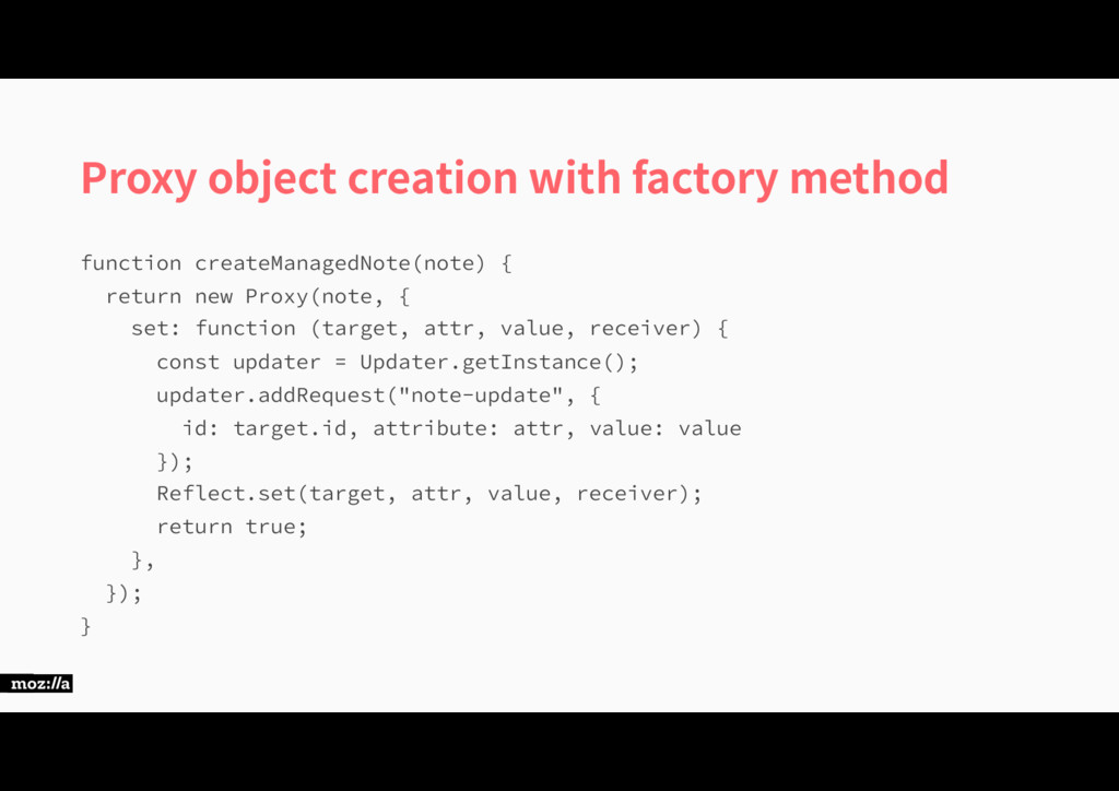 Proxy object creation with factory method GVODU...