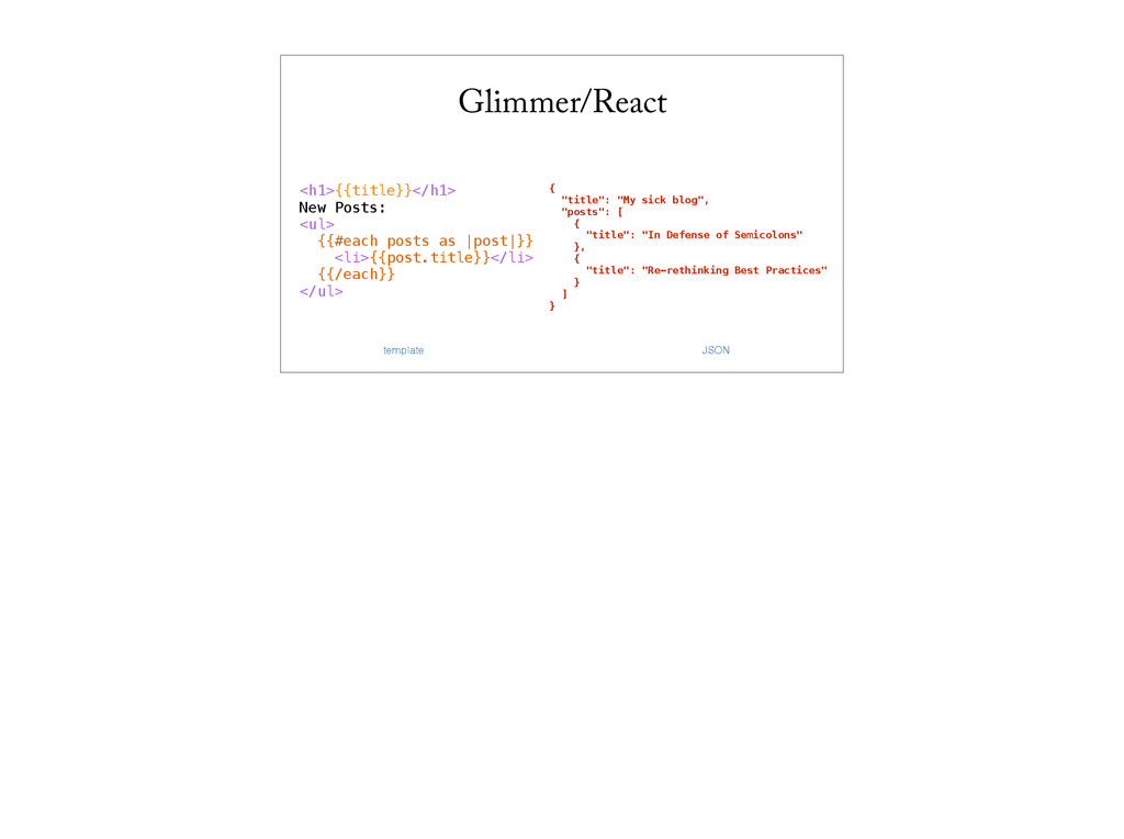Glimmer/React <h1>{{title}}</h1> New Posts: <ul...