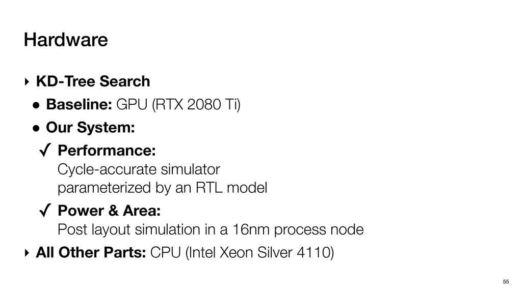 Hardware 55 ‣ KD-Tree Search • Baseline: GPU (R...