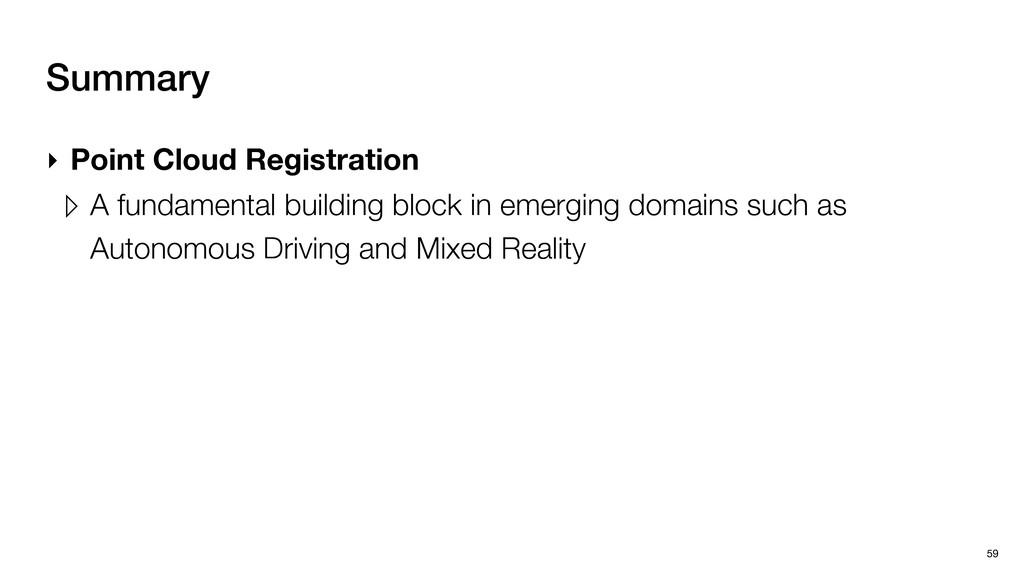 Summary 59 ‣ Point Cloud Registration ▹ A funda...