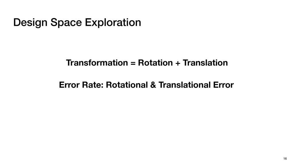 Design Space Exploration 16 Translational Error...