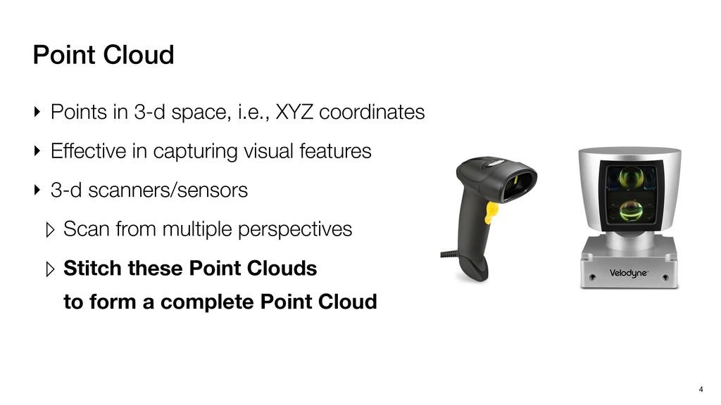 4 Point Cloud ‣ Points in 3-d space, i.e., XYZ ...
