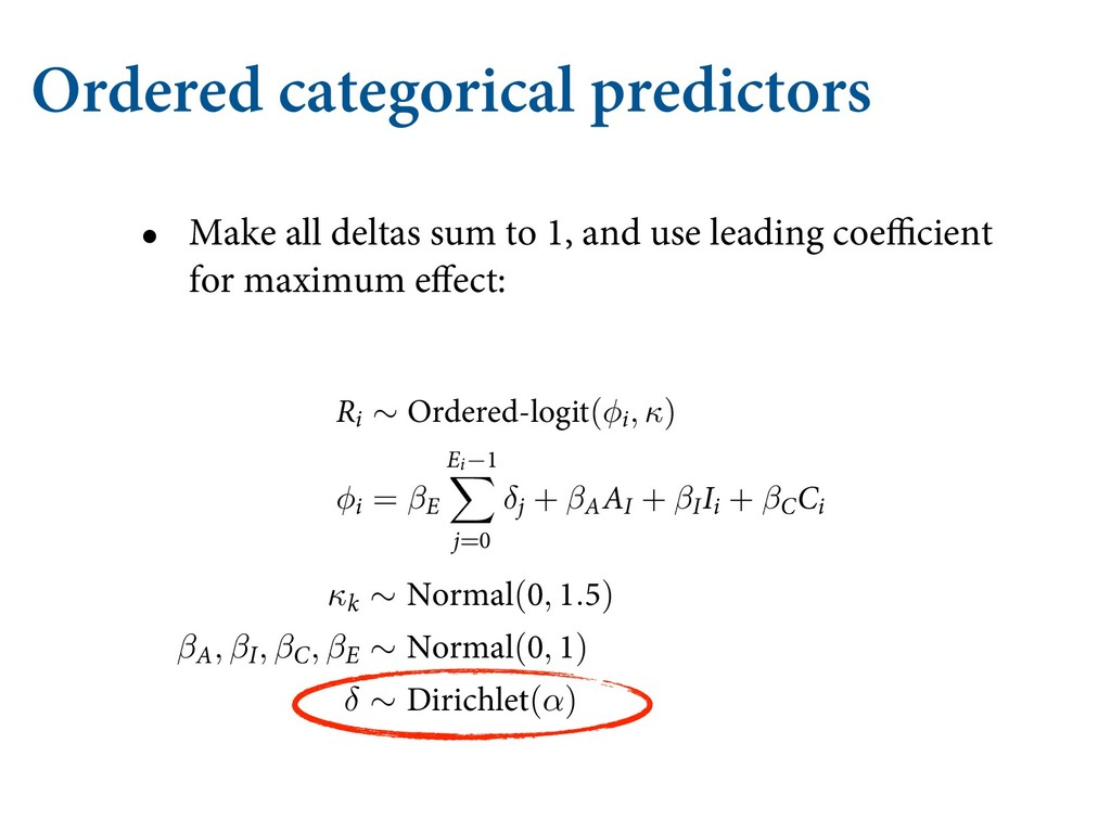Ordered categorical predictors • Make all delta...