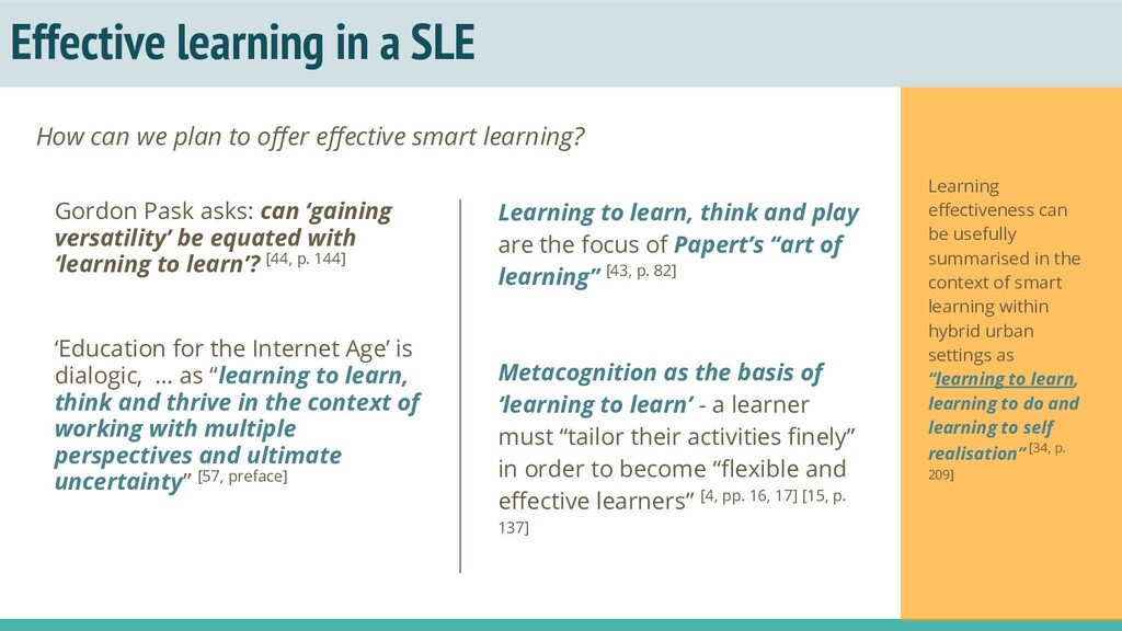 Effective learning in a SLE Learning to learn, ...