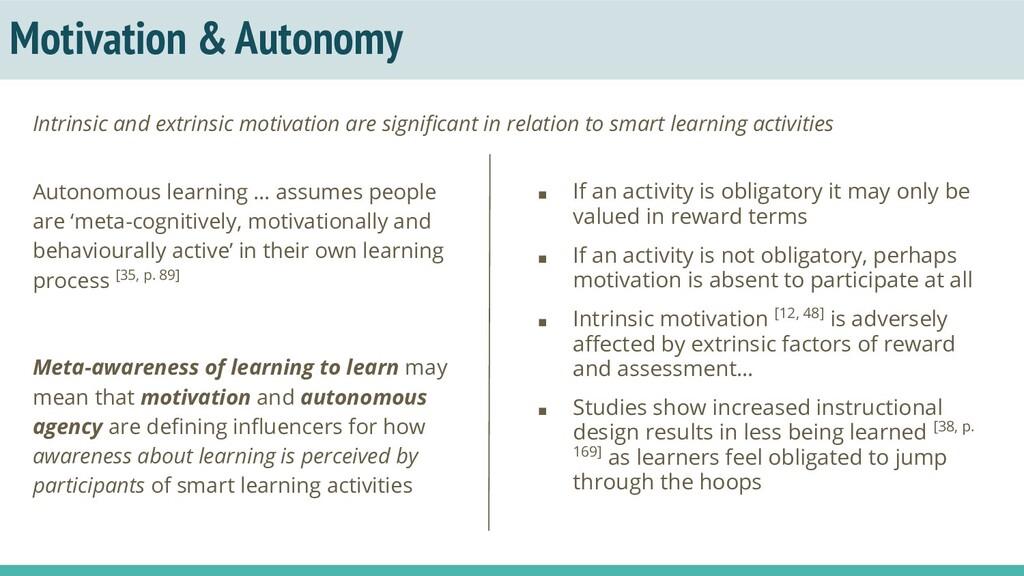 Motivation & Autonomy Autonomous learning … ass...