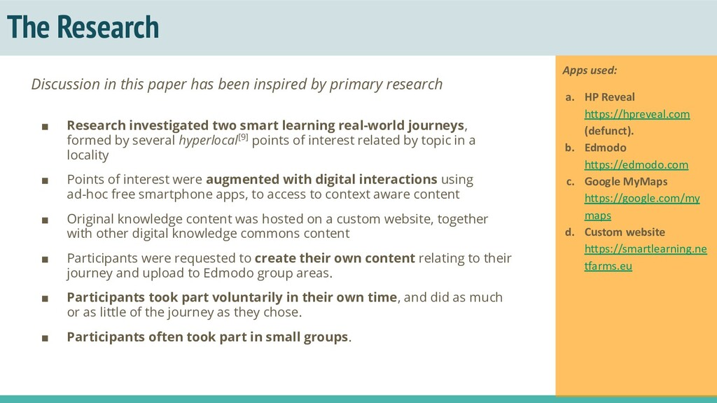 The Research ■ Research investigated two smart ...