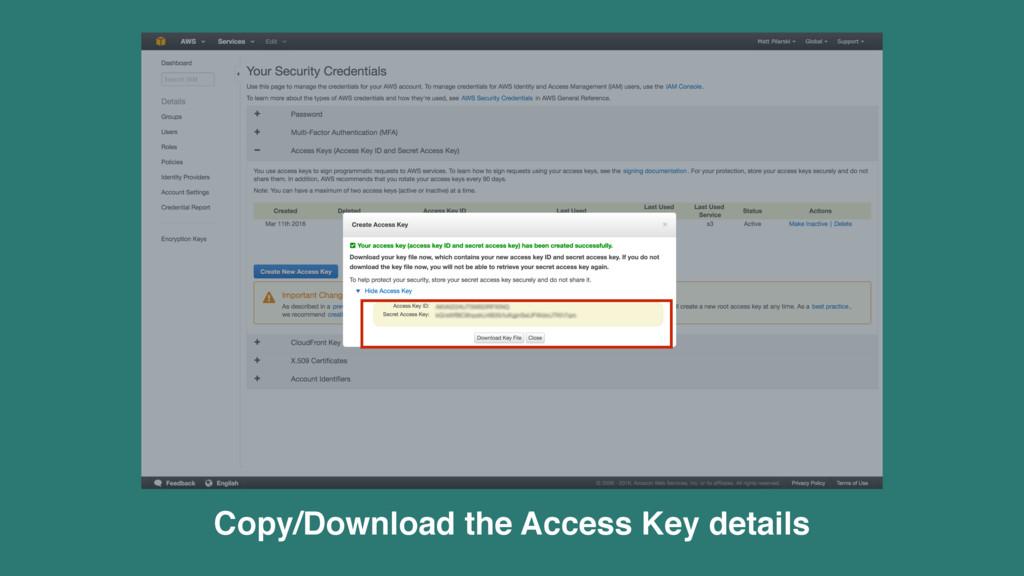 Copy/Download the Access Key details
