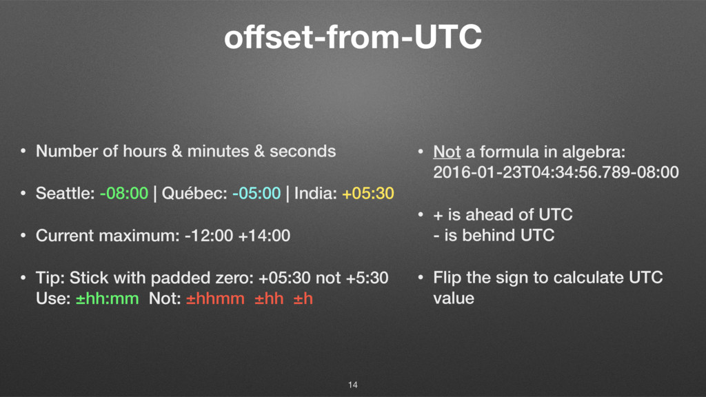 offset-from-UTC • Number of hours & minutes & se...