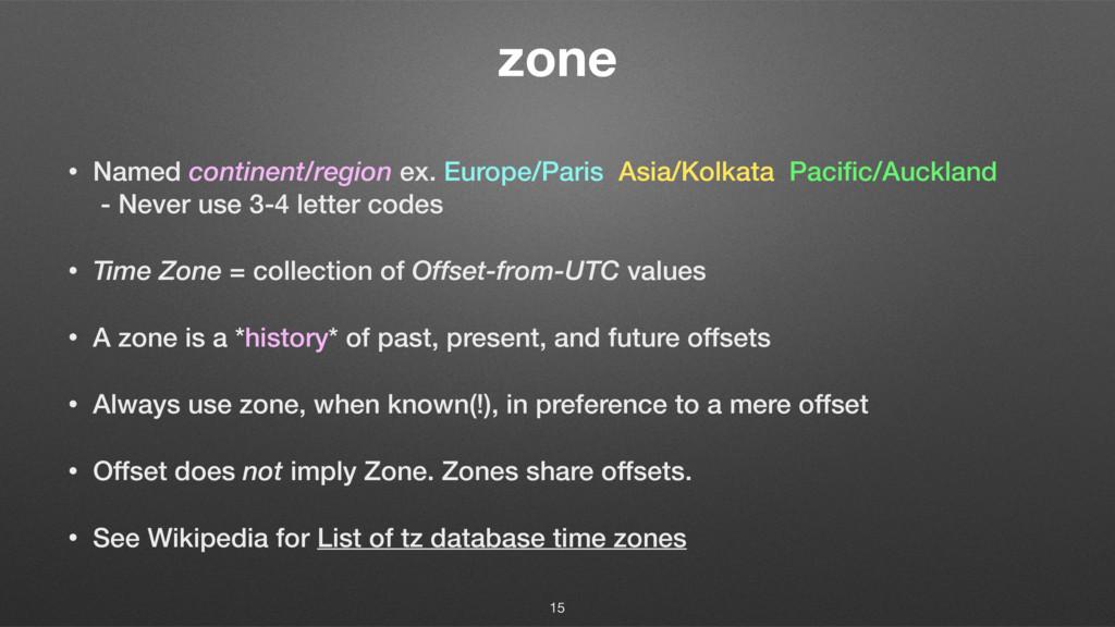 zone • Named continent/region ex. Europe/Paris ...