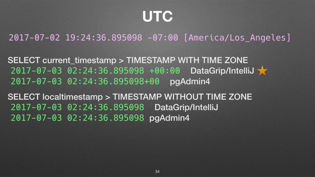 UTC 34 SELECT current_timestamp > TIMESTAMP WIT...