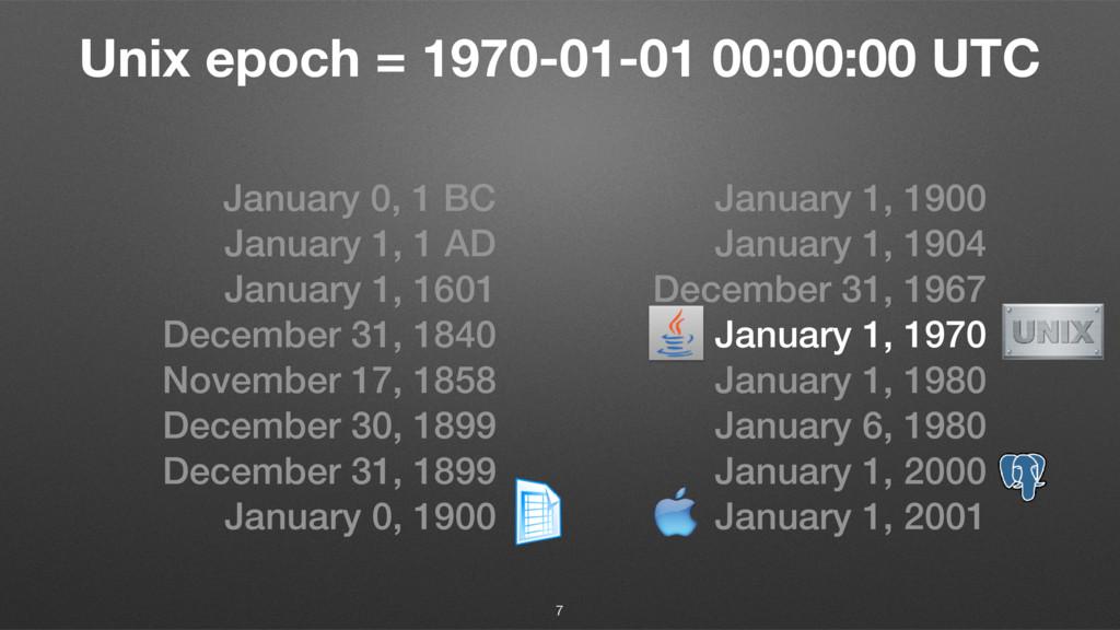 Unix epoch = 1970-01-01 00:00:00 UTC January 0,...