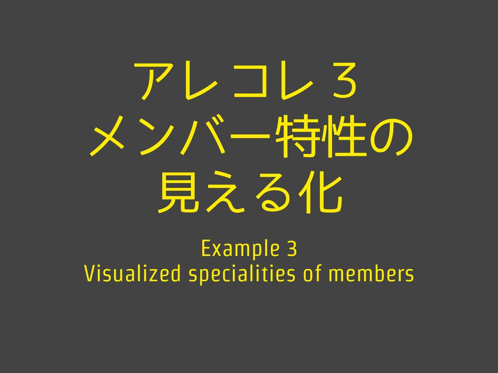 アレコレ3 メンバー特性の 見える化 Example 3 Visualized special...