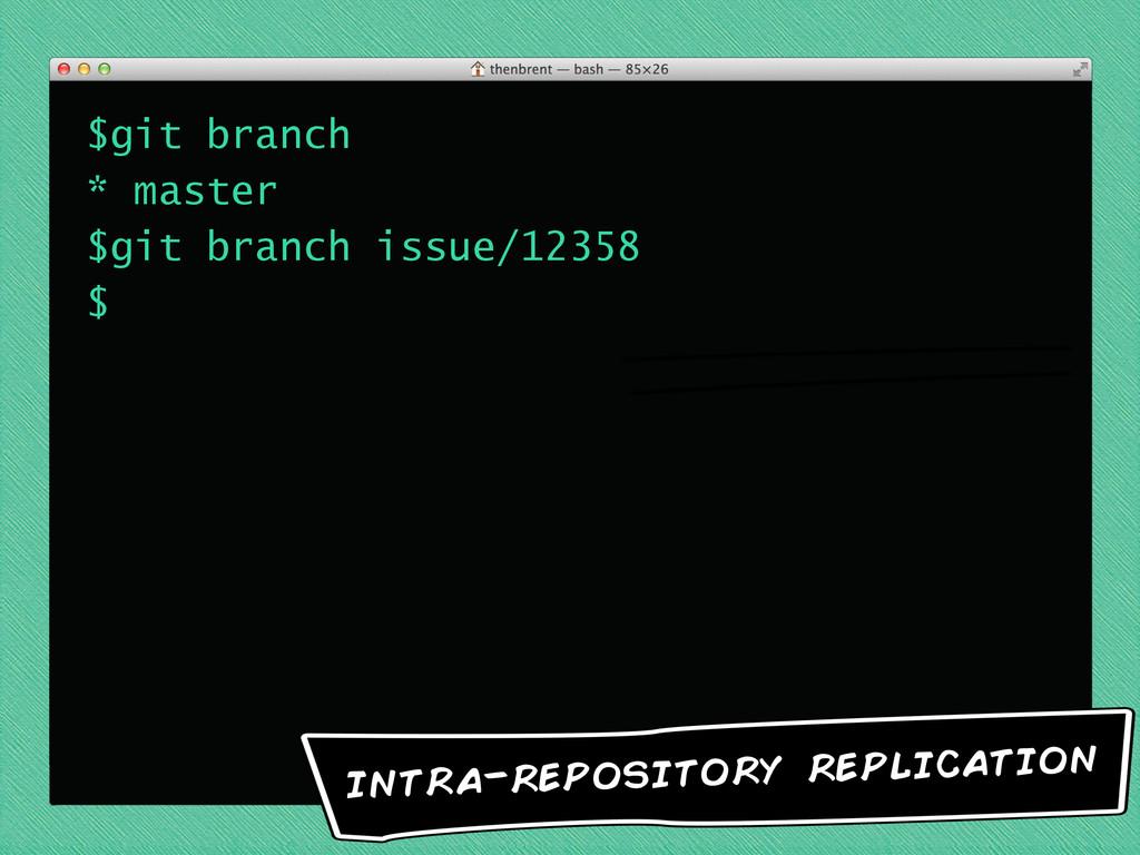 $git branch * master $git branch issue/12358 $ ...