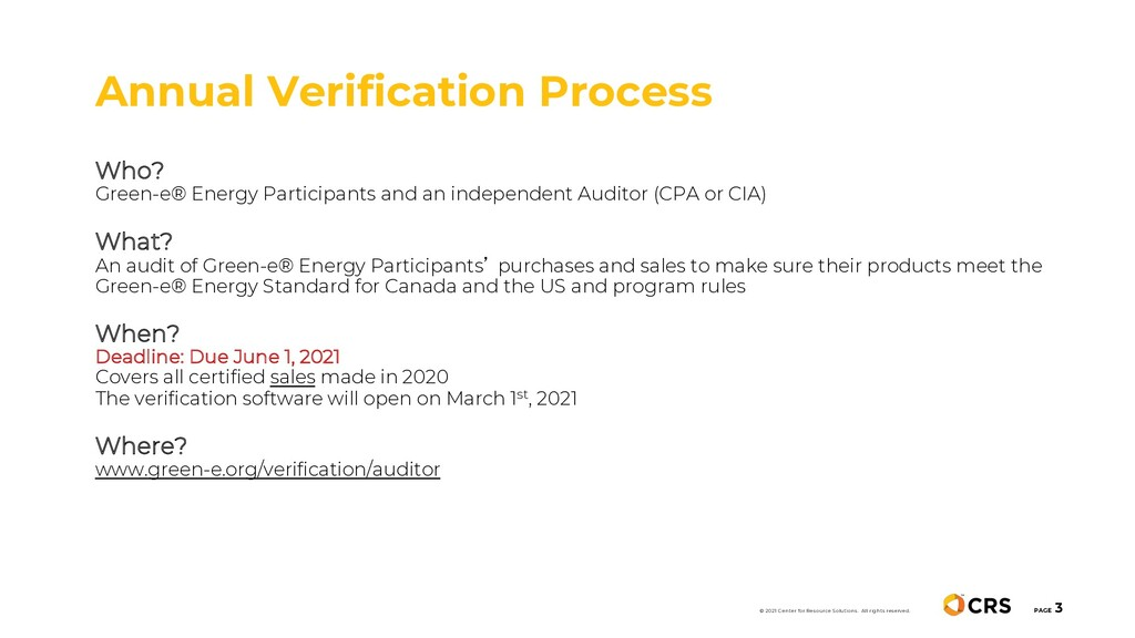 Annual Verification Process PAGE 3 Who? Green-e...