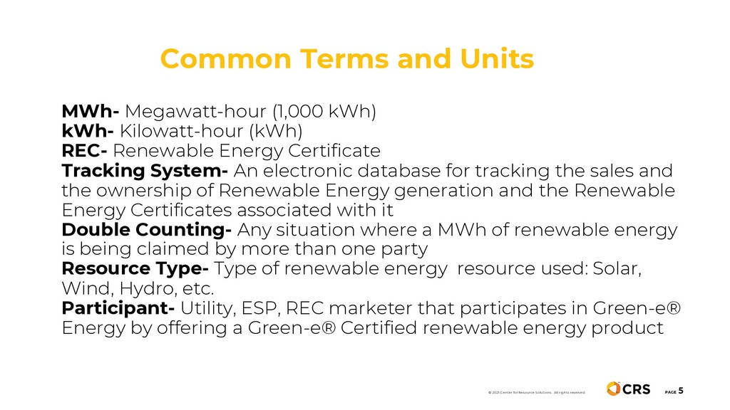 Common Terms and Units PAGE 5 MWh- Megawatt-hou...