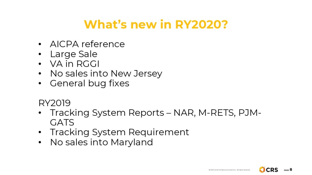 What's new in RY2020? PAGE 8 • AICPA reference ...