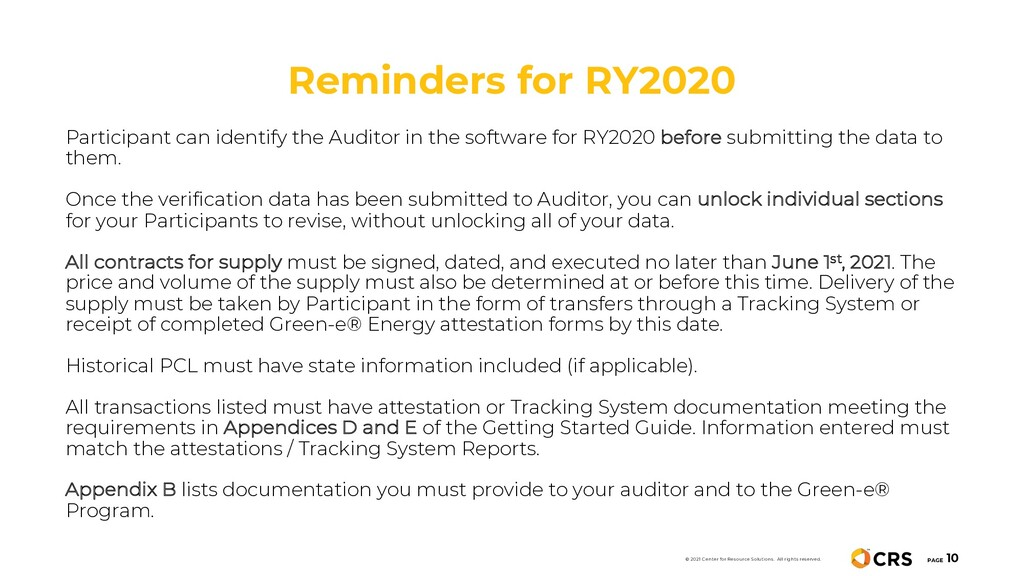 Reminders for RY2020 PAGE 10 © 2021 Center for ...