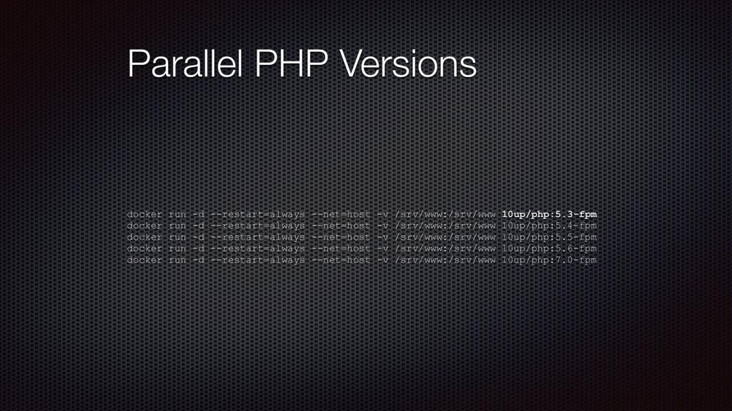 Parallel PHP Versions docker run -d --restart=a...
