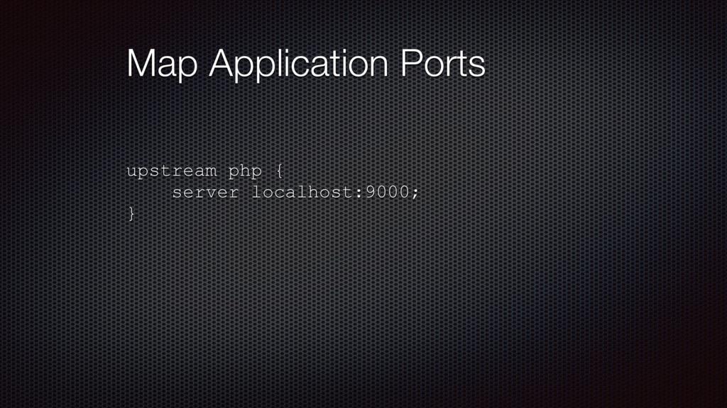 Map Application Ports upstream php { server loc...