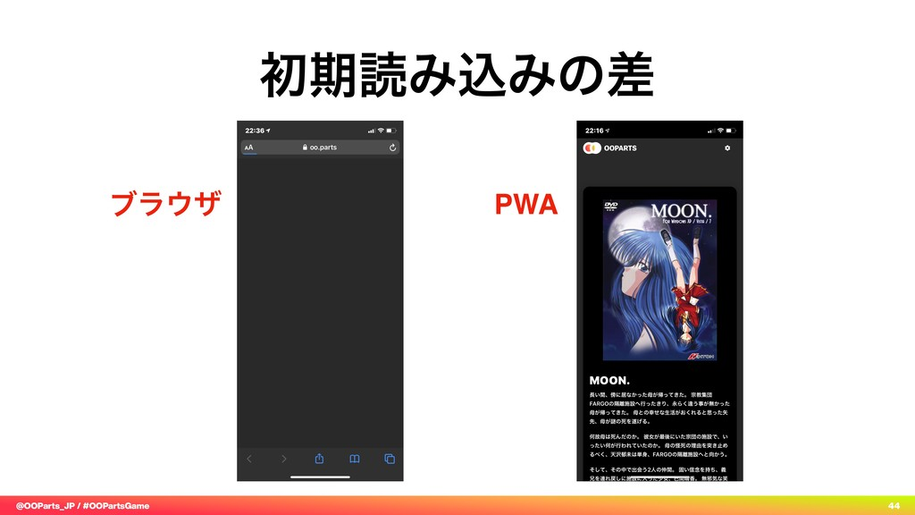 @OOParts_JP / #OOPartsGame 44 ॳظಡΈࠐΈͷࠩ PWA ϒϥ΢β