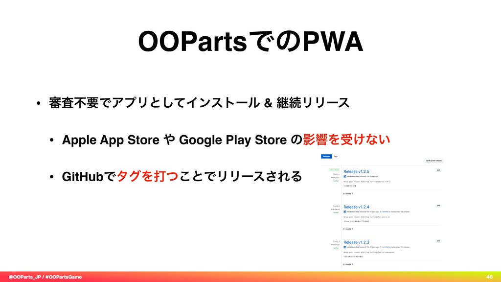 @OOParts_JP / #OOPartsGame 46 OOPartsͰͷPWA • ৹ࠪ...