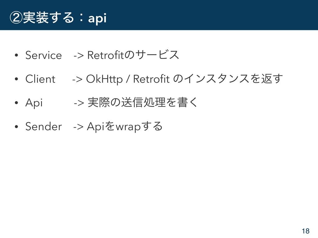ᶄ࣮͢Δɿapi • Service -> RetrofitͷαʔϏε • Client ->...