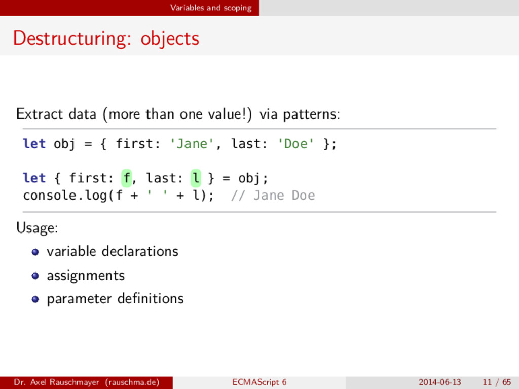Variables and scoping Destructuring: objects Ex...