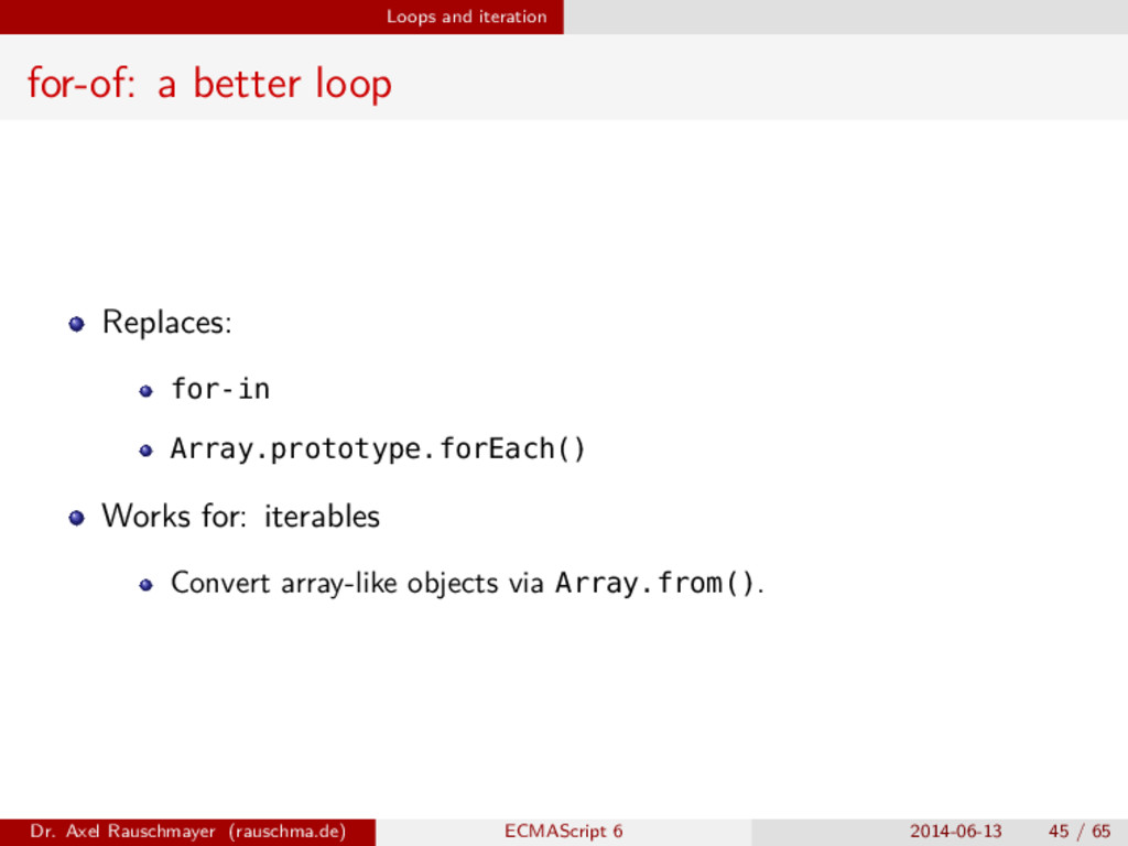 Loops and iteration for-of: a better loop Repla...