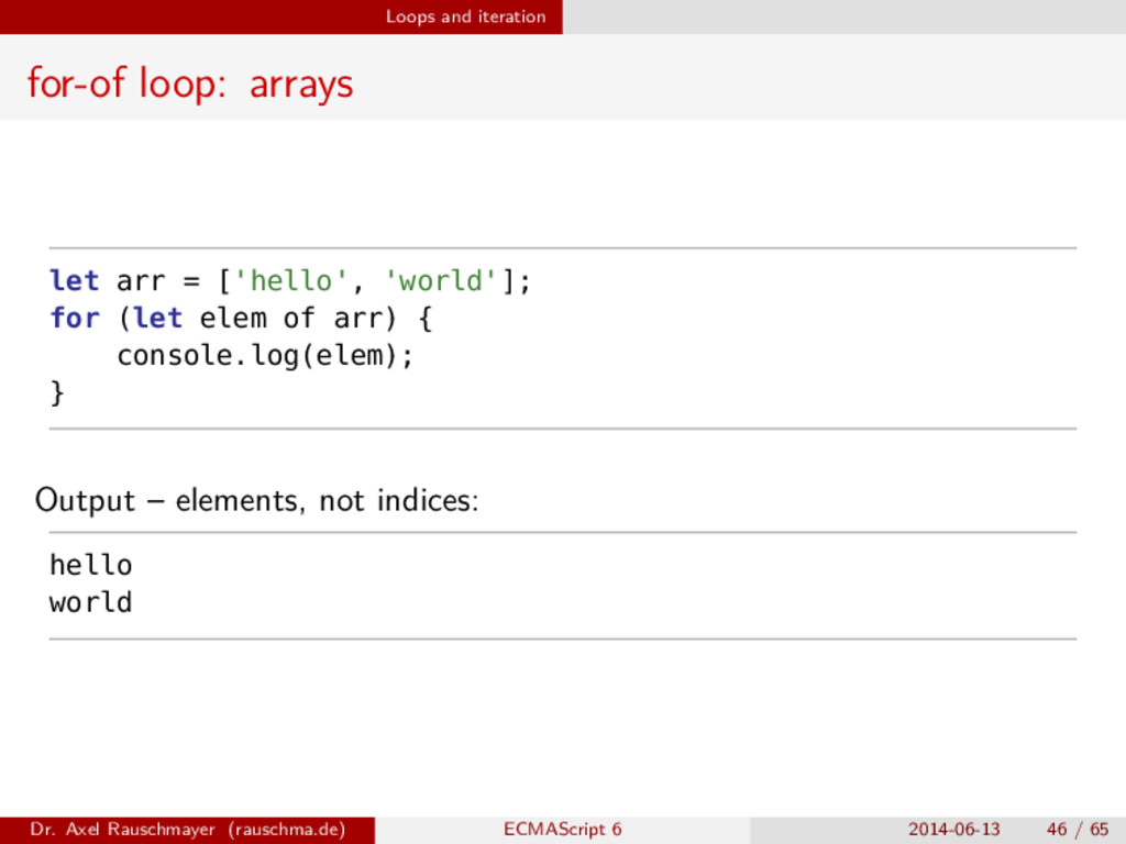 Loops and iteration for-of loop: arrays let arr...