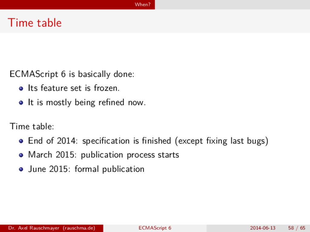 When? Time table ECMAScript 6 is basically done...