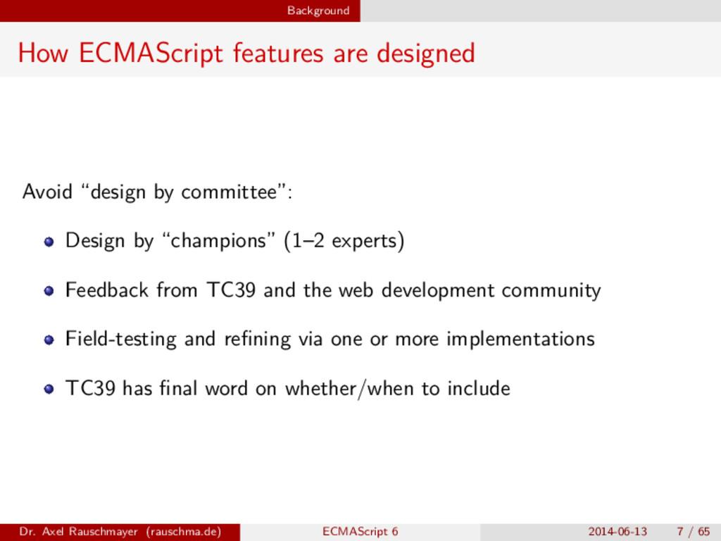 Background How ECMAScript features are designed...