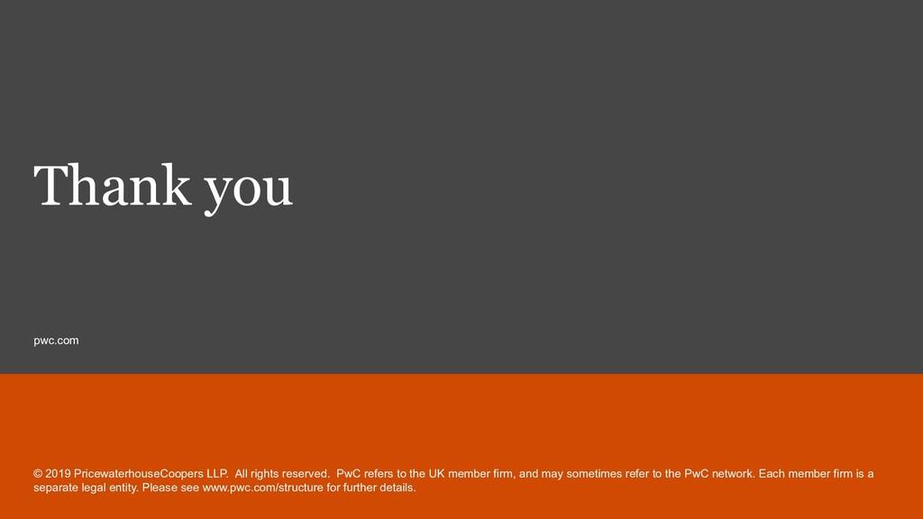 pwc.com Thank you © 2019 PricewaterhouseCoopers...
