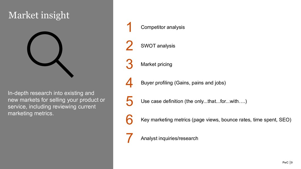 PwC │9 Market insight 1 Competitor analysis In-...