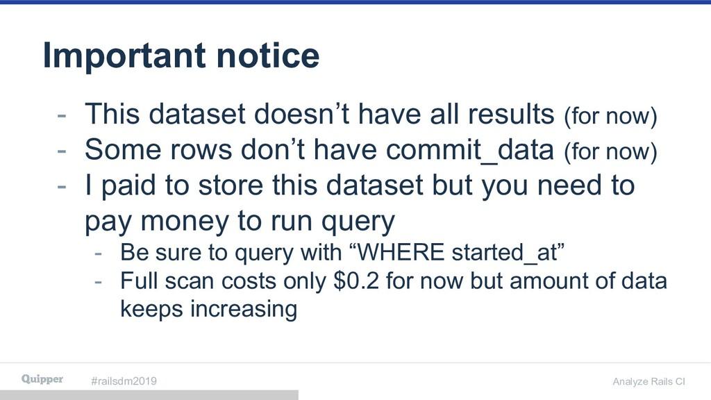 #railsdm2019 Analyze Rails CI Important notice ...