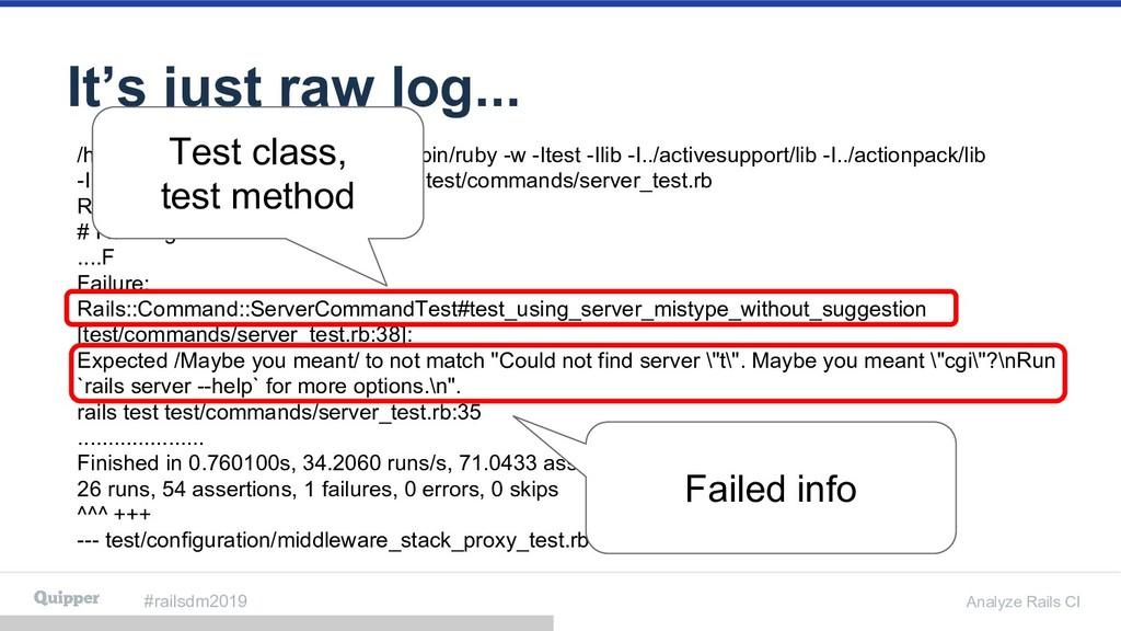 #railsdm2019 Analyze Rails CI It's just raw log...
