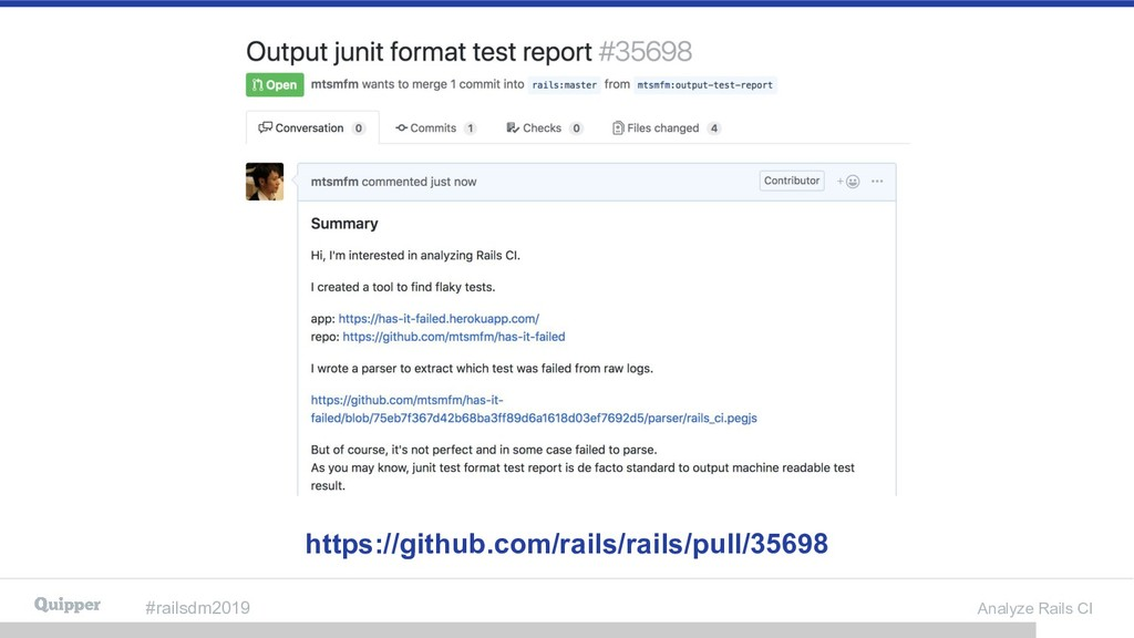 #railsdm2019 Analyze Rails CI https://github.co...
